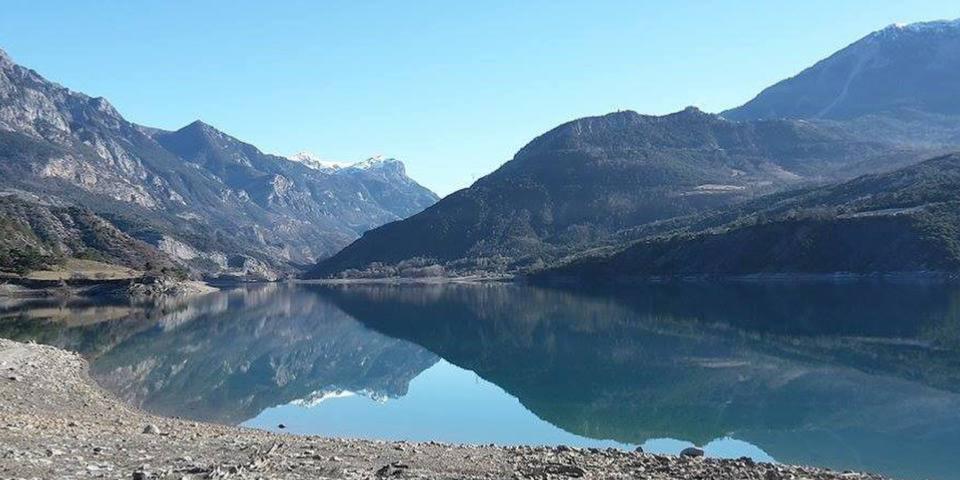 Lake with mountains around