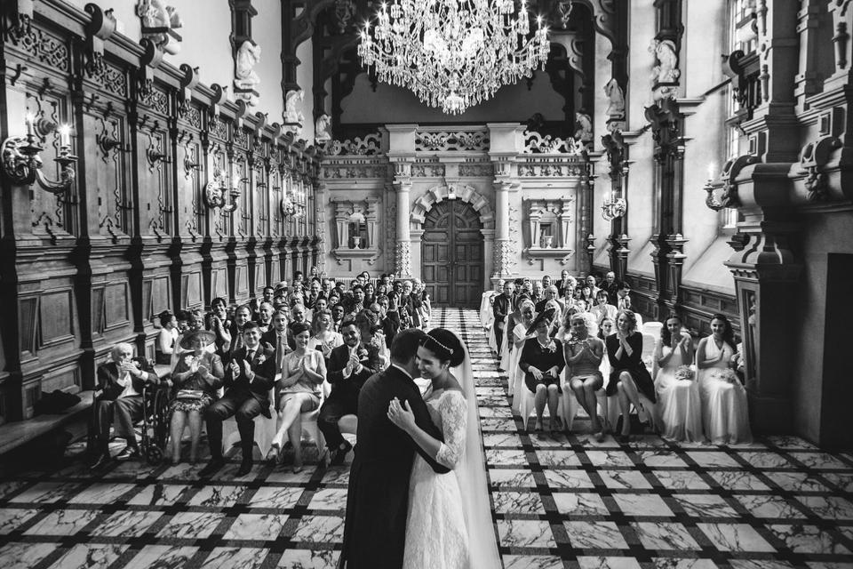 Couple in front of the altar