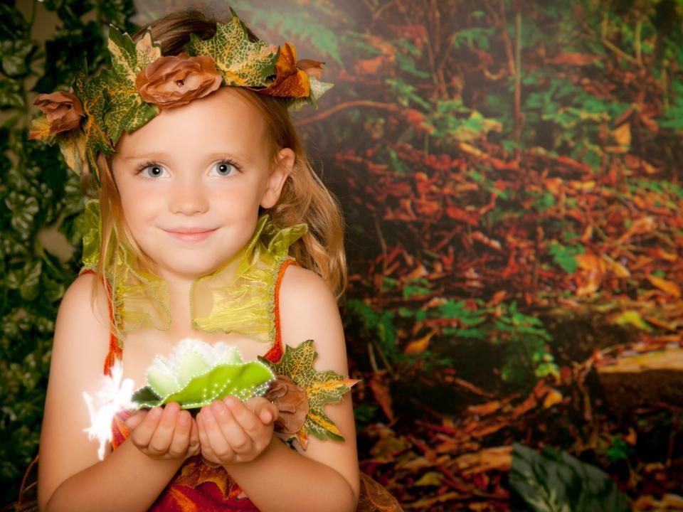 Blond girl dressed as a fairy