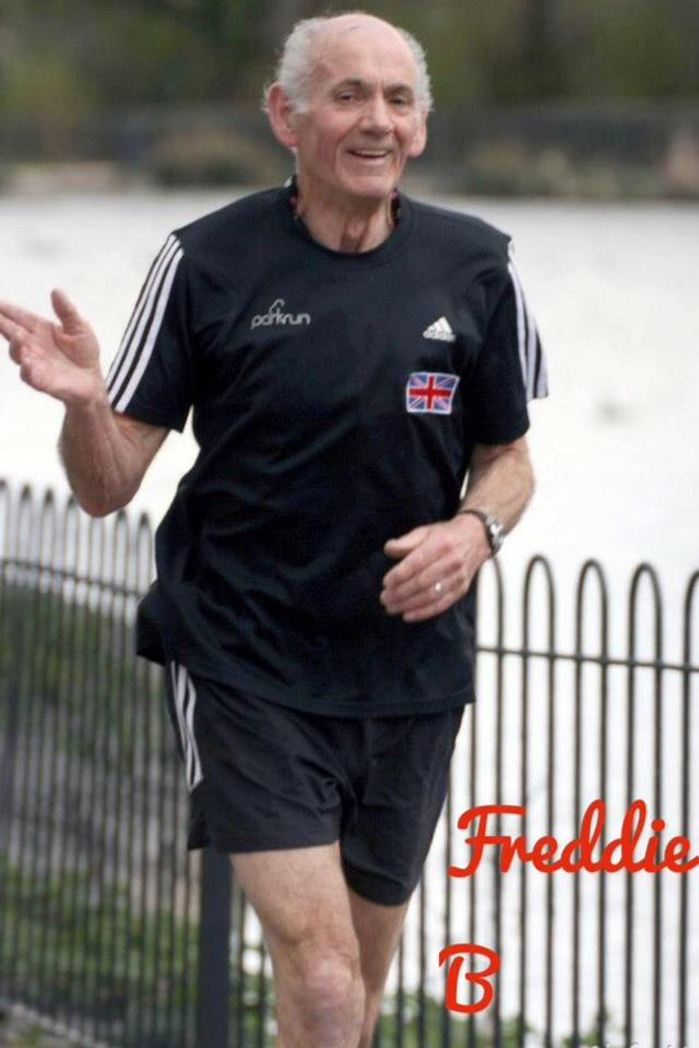 Older man while running