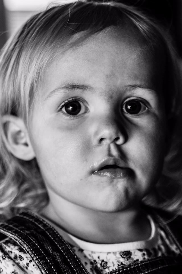 Black and white photo of little blond girl