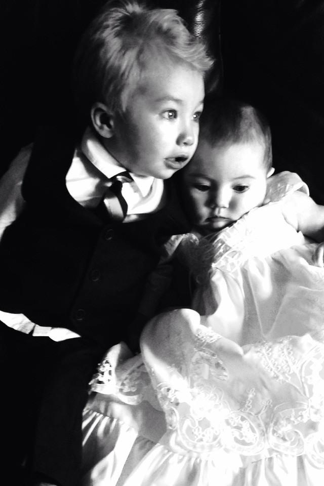 Two kids at christening