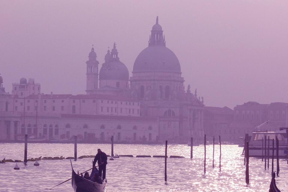 purple colored picture of Venice