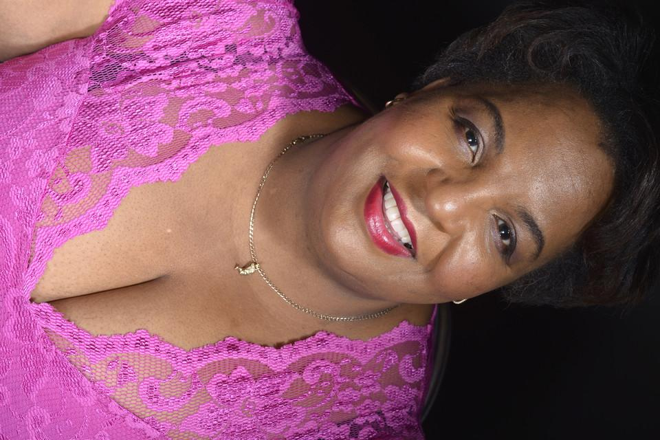 Portrait, woman, violet
