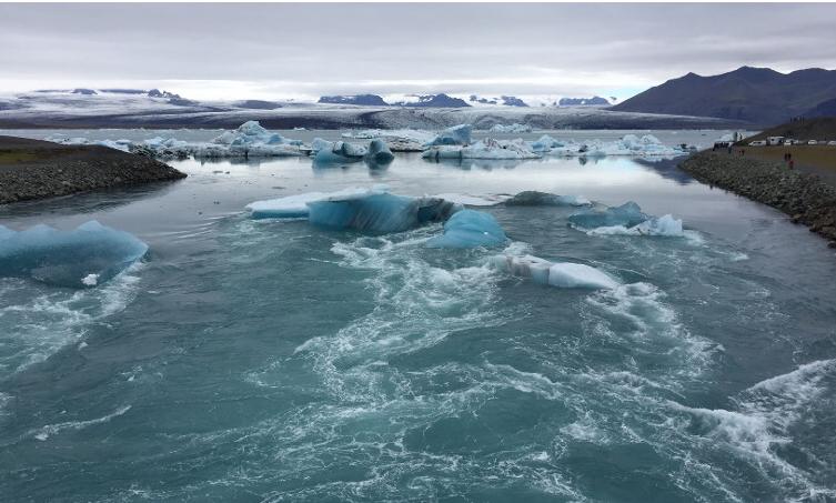 Iceland, ice, rapids, landscape