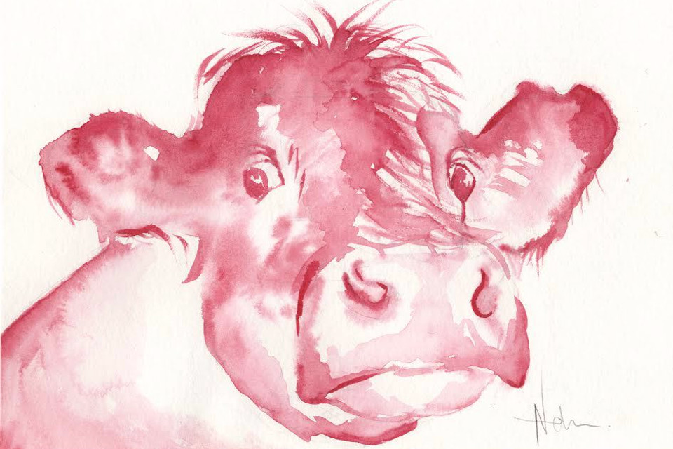 Cow, painting, watercolour, red cow, artwork
