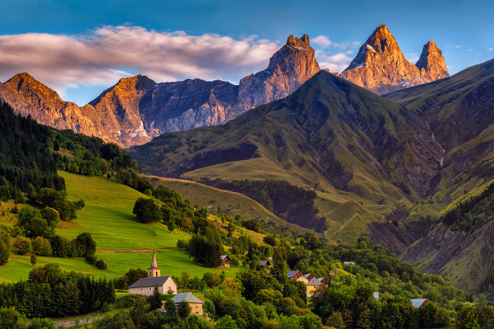 Mountains, France, French Alps, landscape, sunset