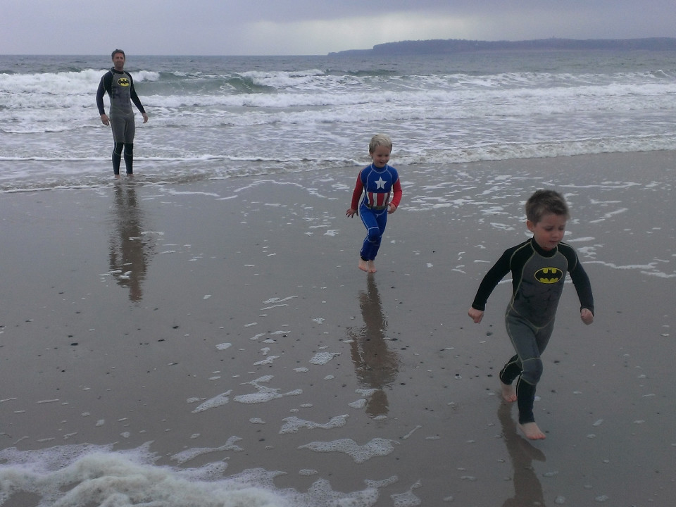 family, kids, boys, superheroes, sea, Batman, Captain America