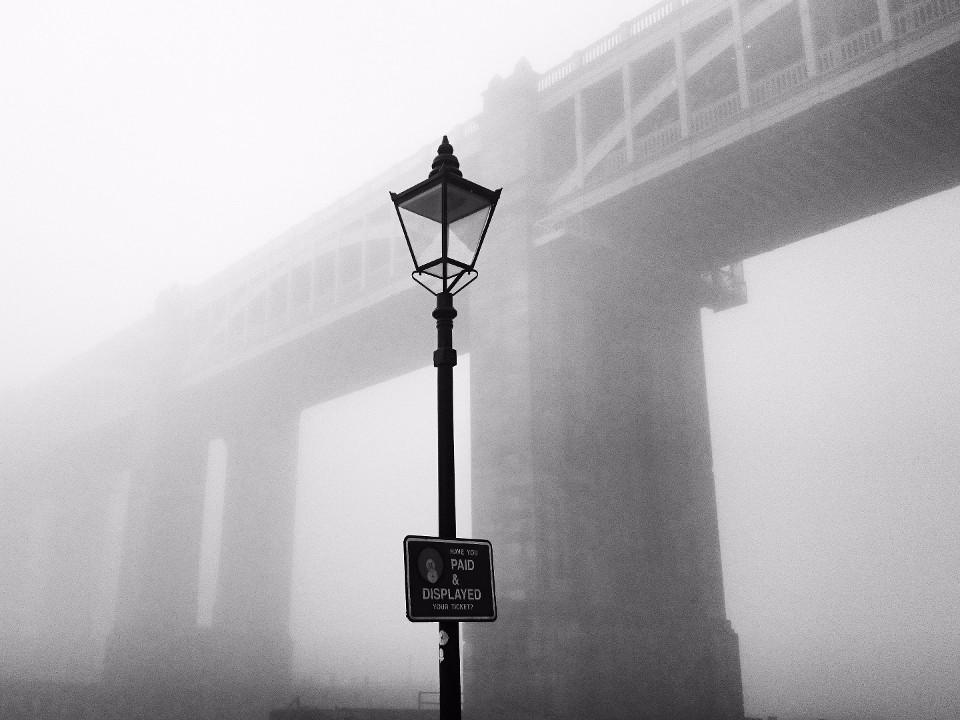 river, Tyne, fog, lantern, bridge