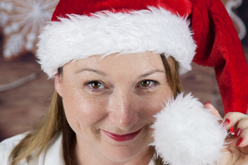 Christmas, Santa hat, Christmas photo session, woman
