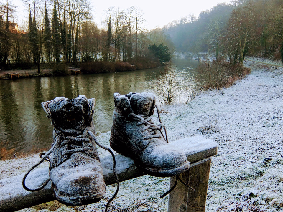 snow, frost, boots, lonely boots, winter landscape