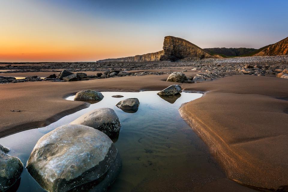 shore, coast, evening sun, rocky shore