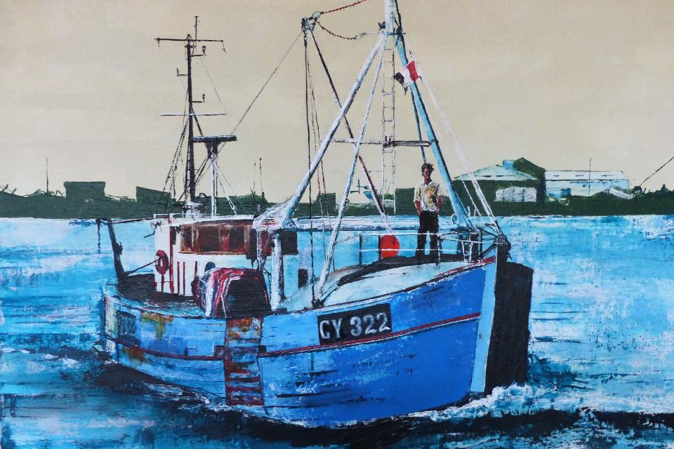 Art, painting, ship, seaside town