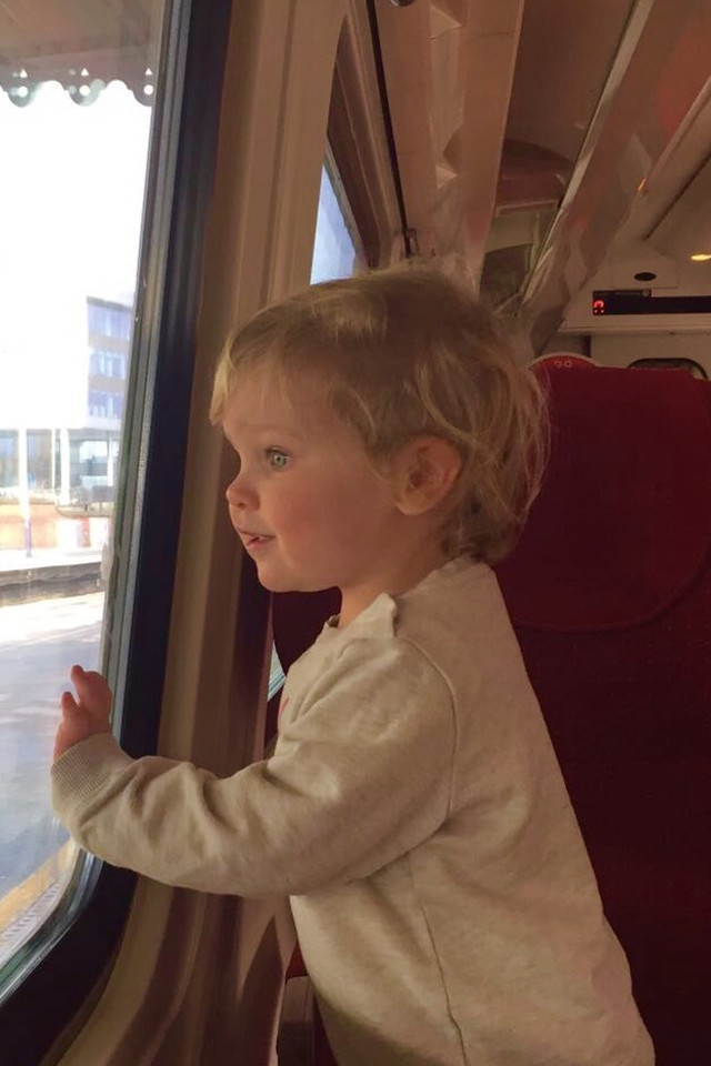 Little girl, kid, train, happy, wondering