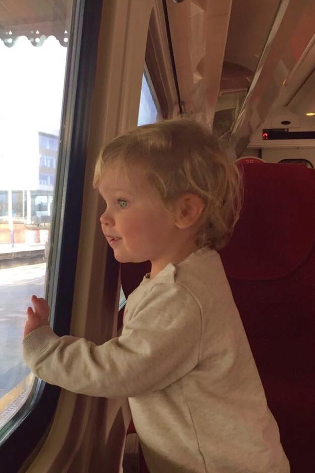 Little girl, kid, train, happy, wondering