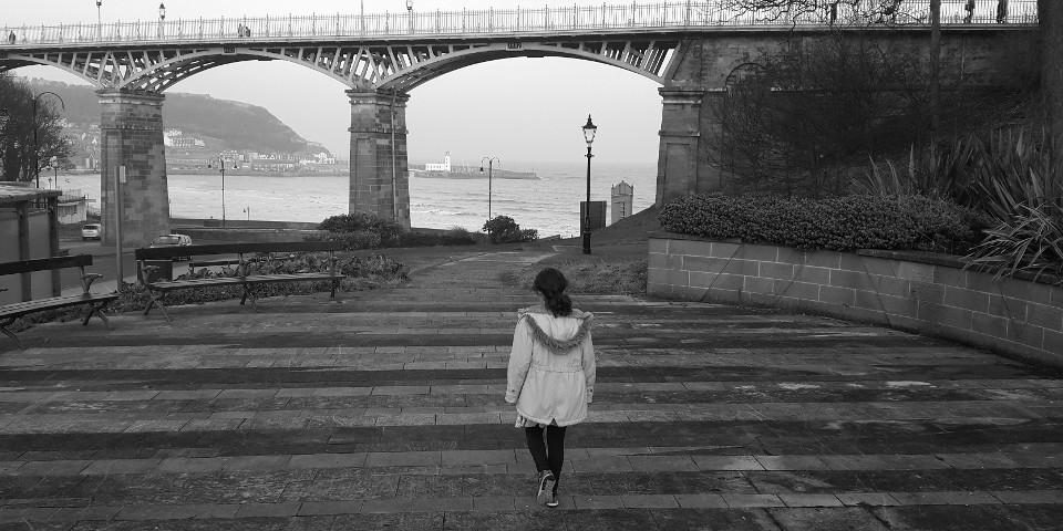 girl, landscape, bridge, black & white, coastline