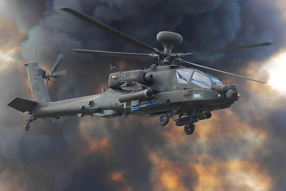 helicopter, military, smoke, explosion, Apache, showcase