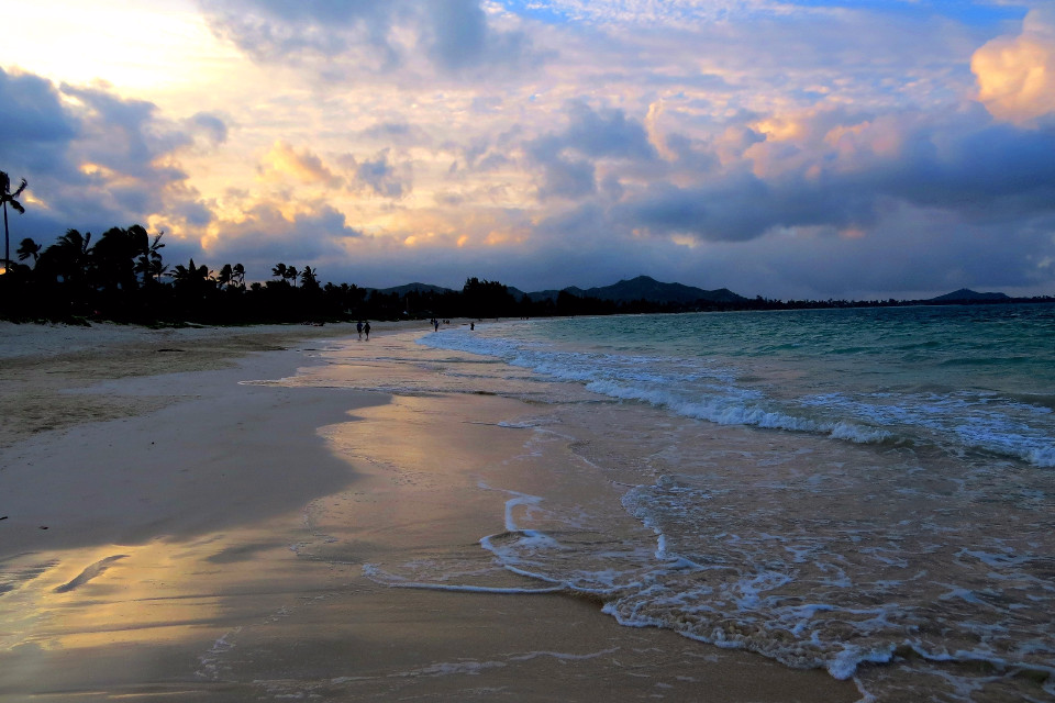 beach, evening, waves, sand, sunset, evening sky
