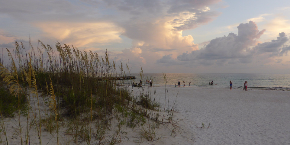Florida, island, beach, white, sand, waves, evening sky