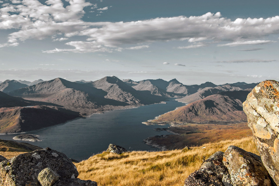 mountains, lake, landscape, Loch Quoich, hills