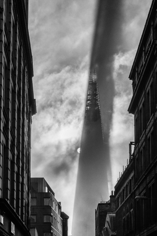 The Shard, London, monochrome, black & white, city, skyscraper, industrial