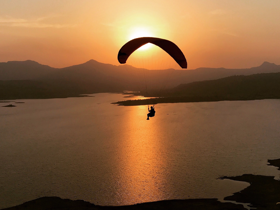 India, sunset, Kamshet, mountains, water, paraplane, wonder