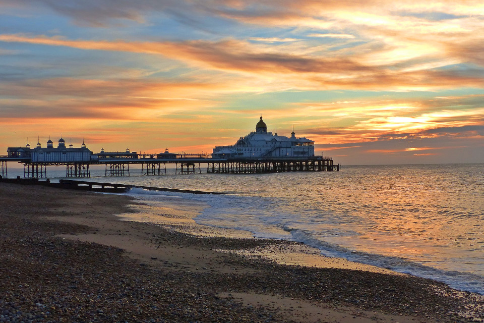 Beach, coastline, evening, pier, sunset, peace, Eastbourne