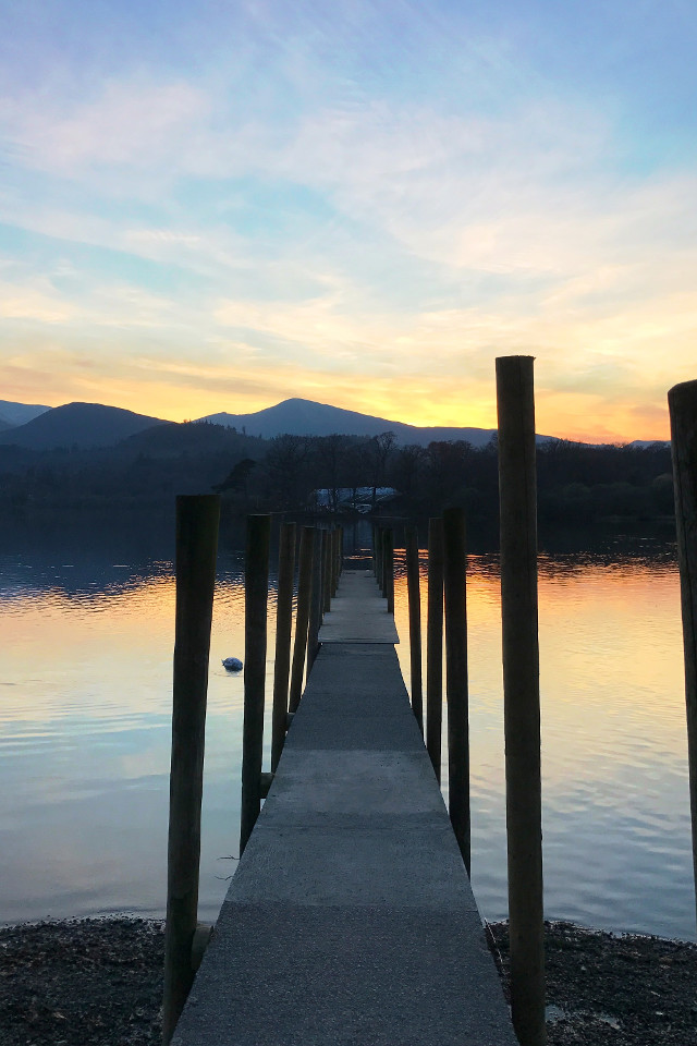 Lake, mountains, evening, sky, water, Derwentwater, pathway, footbridge