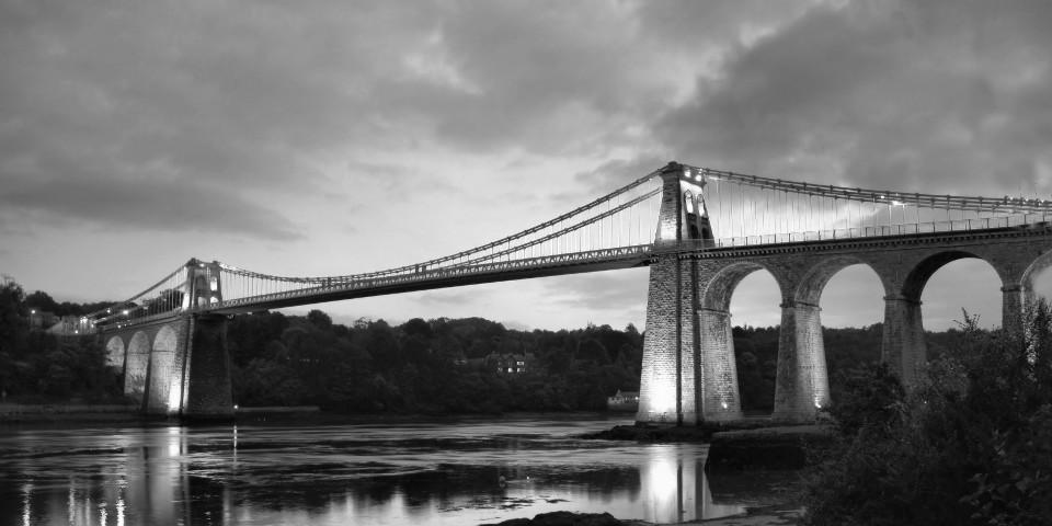 Sights, architecture, river, Wales, Menai, bridge