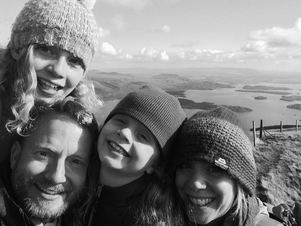 family, kids, parents, trip, b & w, monochrome, Loch Lomond National Park