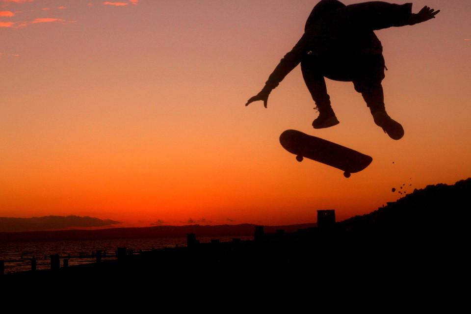 Sunset, landscape, skateboarding, skater, silhouette, board, flip, Bexhill