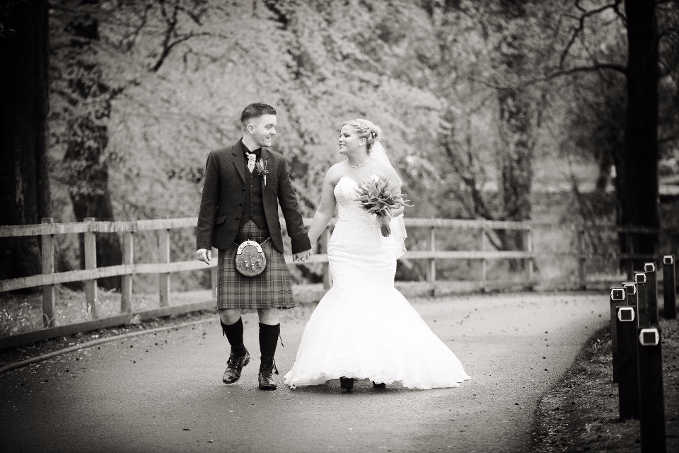 people, man, woman, couple, wedding, Scotland, kilt, monchrome, bride, groom